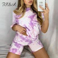 FSDA Mujeres Set Summer Tie Dye Manga corta Camisa superior suelta y biker Shorts Casual Dos piezas Set Streetwear Trajes Trajes