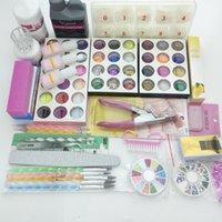 Nail Art Kits Professional 42 Acrylic Liquid Powder Glitter Clipper Primer File Tips Tool Brush Tools Set Kit