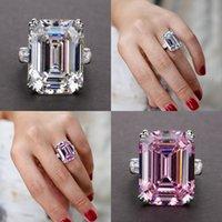 Joyería única Real 925 Esterling Silver Silver Silmerald Cut Pink Sapphire CZ Diamond Promise Party Princess Mujer Banda de boda Anillo 16 J2