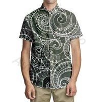 Aulaygo الصيف رجل هاواي قميص فضفاض مطبوعة ساموا القبلية نمط قصيرة الأكمام الأزياء مريحة قمصان لينة مخصص الرجال عارضة