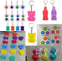 Push Fidget party Keychain Key Ring kids Finger Toys Sensory Squeeze Toy Squeezy Vent Balls Anti Anxiety GWB9008