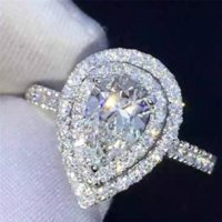 قطرة الماء وعد 925 فضة الخطوبة خاتم الكمثرى قطع الماس حلقات الزفاف الفرقة للنساء مجوهرات