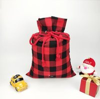 Christmas Decoration Candy Bag Canvas Drawstring Pockets Santa Sacks Festival Storage Bags Red and Black Pocket OWA8688