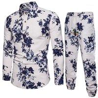 Мужская одежда льняная смесь мужские дизайнерские трексеи осень печать мода повседневные длинные брюки установить плюс размер