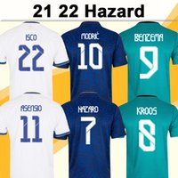 21 22 Опасность бензема Мужские футболки трикотажные майки модули Mariano Kroos ISCO Asensio Asensio Marcelo Carvajal Marcelo Home White Away Blue Football рубашка