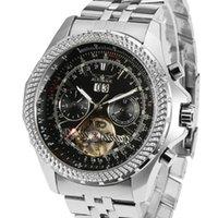 Armbanduhren jaragar steampunk sport serie tourbillon einzigartiger silber edelstahl date monat date helle automatische mechanische watch