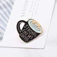 Cartoon Coffee Cup Brooch Pins European Enamel Funny Metal Brooches for Girls Gift New 2021 Xmas Badges Bag Clothes Denim Shirt Pin 868 Q2