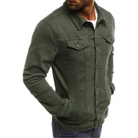 Men's Jackets For Men Turn Down Collar Slim Fit Casual Denim Jacket Solid With Pockets 2021 Spring Fall Long Sleeve