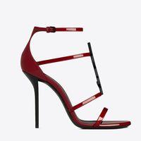 21S летние женские сандалии бренд-обувь Кассандра черные патентные кожи сандалии спекутоидные с сексуальными тонкими каблуками лодыжки леди Sandalies