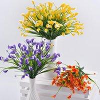 Dekorative Blumen Kränze Schöne 25 Köpfe / Blumenstrauß Mini Künstliche Calla mit Blattplastik Gefälschte Lilie Wasserpflanzen Home Room Decoratio