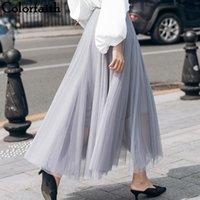 Skirts Colorfaith 2021 Autumn Winter Women Ankle-Length Skirt Casual Elegant Tulle Multi Colors Sweet High Waist Ladies Female SK1918