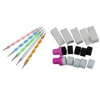 Nail Art Kits 5 Stück Wirbel doppelt beendete Dotting / Marblevention-Werkzeuge 1 Satz Schwammstempel Stempel polnische Vorlage