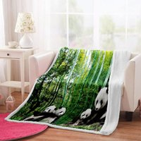 Blankets Irisbell Panda Printed Blanket Home Sofa Couch Comfort Square Sherpa Outdoor Camping Picnic Fashion Warm