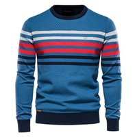 Men's Sweaters AIOPESON Streetwear Striped Sweater Men Casual O-neck Cotton Pullovers Knitted Man Winter High Quality Mens