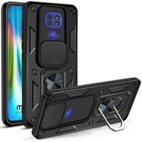 Camera Slide Full Cover Mobile Phone Cases for Motorola Moto G9 Play E7 Plus G Power Stylus 5G 2021 G60 G100 G10 G20 G30 G50 Casing Metal Finger Ring Strap Holder Stand