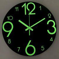 Wall Clocks Luminous Round Clock Large Watch Creative 3d Diy Wooden Digital Duvar Saat Klock Modern Mute Simple
