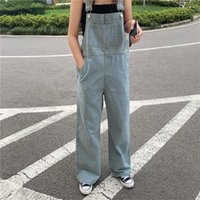 Women's Jeans Women Loose Cotton Denim Overalls With Big Pocket Vintage Wash Korean Fashion Girls Jumpsuit Design