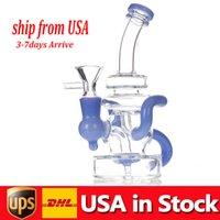 리사이클러 오일 장비 물 담뱃대 두꺼운 유리 물 봉지 흡연 파이프 Heady Dab rigs 봉수 물 파이프 컬러 Perc 14mm 공동 주식 미국