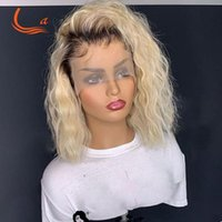 Lace Wigs 1B 613 Kinky Curly Hd Transaprent Frontal Human Hair Deep Wave Pre Plucked Full Ombre Blonde Colored Pixie Bob 13x6
