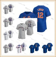 12 Francisco Lindor 2021 nuovo personalizzato Jacob degom Pete Alonso Mets Mike Piazza Dwight Gooden Keith Hernandez Darryl Strawberry York Jersey