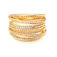 VAROLE MultiLayer Hollow Rings For Women With Cubic Zirconia Gold Color Minimalist Ring Fashion Jewelry Gift Anillos Mujer