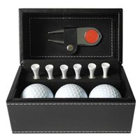 Golf Balls 11 PCS Gift Set With 6 Tees 3 Divot Repair Tool Leather Box Trainning Outdoor Accessories