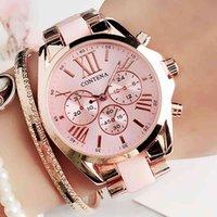デザイナーの高級ブランドの時計レディースファッションピンクの手首レディースESトップクォーツMスタイルの女性クロックレリーゴーフェミニノモントトレフェムメ