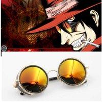 Anime Hellsing Alucard Cosplay Prop Vampire Hunter Glasses Orange Gafas de sol para hombres Mujeres Y0913