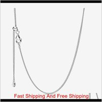 New Arrival Adjustable 925 Sterling Silver Classic Curb Chain Necklace With Sliding Clasp Fit European Pendants And Charms Fine Jewelr Xdwpn