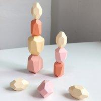 Kinder Holz Farbige Stein Jenga Baustein Pädagogisches Spielzeug Kreative Nordische Stil Stapel Spiel Regenbogen Holz Spielzeug Geschenk 1813 V2