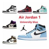 Air Jordan 1 Высококачественные баскетбольные Обувь Мужские Летние Высокопроизводительные Спортивные Пара Обувь 1S Университет Синий Низкий Серый Белый Черный Красный Мокх Осидиан Кроссовки Женщины