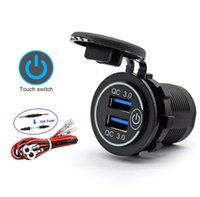 Dual USB car Charger Socket Motorcycle Chargers Quick Charge QC3.0 Waterproof Power Outlet With Touch Switch For moto Boat Motos