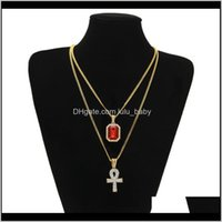Necklaces Men S Egyptian Ankh Key Of Life Necklace Set Bling Iced Out Cross Mini Gemstone Pendant Gold Sier Chain For Women Hip Hop Je H57Zt