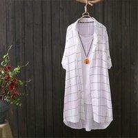 Plus Size Womens Hemden Lange Plaid Bluse Hemd Frühling Button Daunen Leinen Top Frauen Weibliche Beiläufige Ärmelarbeit Blusas