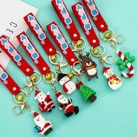 Cute Christmas Series Soft Silicone Keychain Cartoon Santa Claus Snowman Elk Three-dimensional Key Pendant Bag Gift