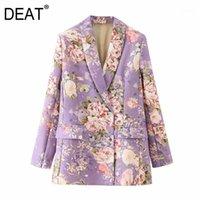 [Deat] Mujeres Impreso Color Mixto Blazer Floral New Lapel Manga Larga Fija Jacket Fashion Tide Otoño Invierno 2021 13U1451