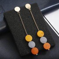 Dangle Chandelier Color Color Pezzi di legno Goccia per le donne Moda coreana Lungo Orecchini semplici Elenchi di fabbrica all'ingrosso Prezzo di fabbrica Esperto Qualità Ultimo stile originale
