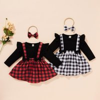 Clothing Sets Toddler Baby Girl Clothes Solid Tops+Plaid Printed Suspender Skirts Headbands Outfits Kids Dress Casual