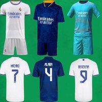 21 22 레알 마드리드 축구 유니폼 짧은 홈 멀리 세 번째 키트 2021 2022 Alaba 위험 Zidane Benzema 축구 셔츠 바지 Camiseta de Futbol 남자 아이들 세트