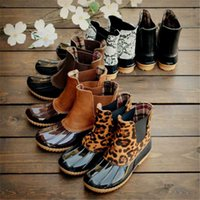 Boots Leopard Women Rain Lace Up Ankle Shoes Christmas Winter Waterproof Middle Tube Black Big Size 43