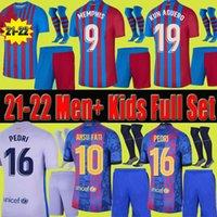 21 22 Futbol Formaları Erkekler Yetişkin Çocuklar + Kısa Çorap Tam Set Kitleri 2021 2022 Memphis Pedri Ansu Fati Dest F.de Jong Kun Aguero Futbol Gömlek Unifrom
