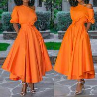 Casual Dresses Women Dress Bare Shoulder Waist Belt Long A Line Pleated Orange Fashion Female Ladies Elegant Autumn Summer Robes