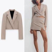 Blazers Épaulettes Crochures Blazer Femmes Manches longues Manteau Vintage Spring Manteau Blazers Femme Chic Wrap Avant-Bouton caché Haut