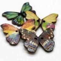 WB-27 Großhandel 100 stücke Bunte Schmetterling Gedruckt Holzknöpfe Zwei Löcher Knopf Dekorative Nähen Handwerk Kleidungsstück Zubehör