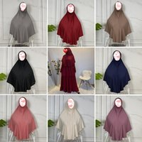 Ethnic Clothing Plain Color One Piece Amira Hijabs Headscarf Ramadan Women Islamic Muslim Convinient Turban Head Wrap Scarf Ready To Wear