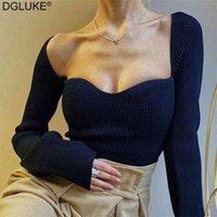 DGLUKE Mode Frauen Pullover Square Kragen Langarm Pullover Jumper Gestrickte Pflaster Tops Damen Elegante Pullover Schwarz Weiß 210907