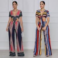 빈티지 줄무늬 인쇄 두 조각 세트 여성 hipster 높은 거리 활 묶여 짧은 소매 자르기 탑 넓은 다리 바지 보헤미안 의류