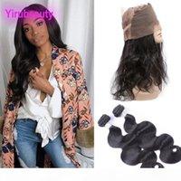 Paquete de cabello virgen brasileño 2 paquetes con 360 paquetes de onda corporal ajustable frontal de encaje con 360 frontal 100% cabello humano 3 piezas