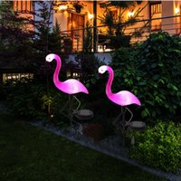 Solar Powered LED Garden Light Pink Flamingo Lawn Lamp Outdoor Waterproof Decoration Lighting Yard Pathway Floor Lights Lamps