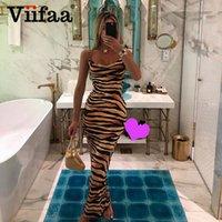 Viifaa Renkli Zebra Cilt Baskı Yaz Seksi Kadın Cami Uzun Elbise Spagetti Kayışı Kolsuz Parti Ince Bodycon Elbiseler